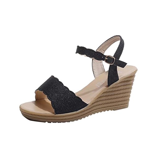 Colorful TM Summer Women Teenage Girls Round Toe Non-Slip Platform High Heels Sandals Buckle Sequins Sandals Black 1BaefA