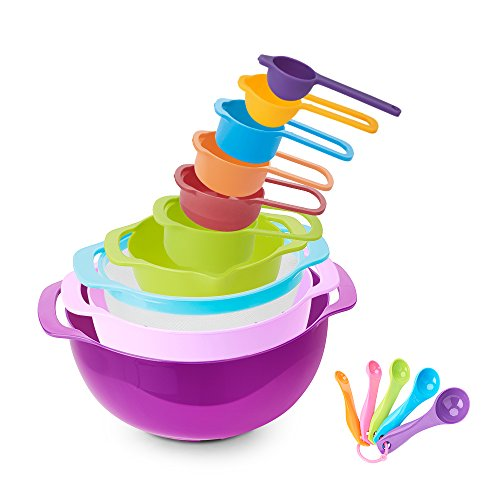15 Piece Mixing Bowl Set with Handle, Nesting Colorful Measuring Cups Spoons Colander Mesh Strainer, BPA Free Plastic Stackable Nested Mixing Bowls