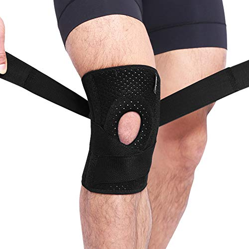 Knee Brace with Patella Gel Pads & Side Stabilizers for Knee Support Joint Pain Relief Meniscus Tear Brace Strap Adjuster for Men & Women -Single- Black