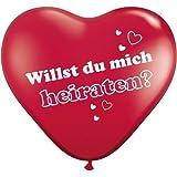 """Herzballons """"Willst du mich heiraten?"""" - Rot - Ø 25 cm 10 Stück - partydiscount24®"""