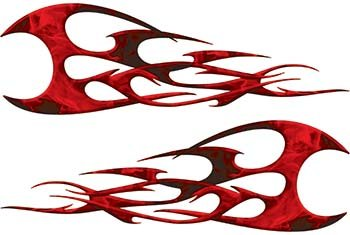 Twisted Tribal Flames Motorcycle Tank Decal Kit in Red Inferno ()