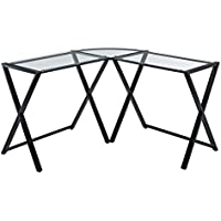 X-Frame Glass and Metal L-Shaped Computer Desk, Clear Glass and Black Frame