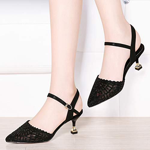 women shoes fashionable wine thin shoes 7cm glasses heels buckles diamond heel LBTSQ Pointed hair heel middle Black high xqwWOPvY