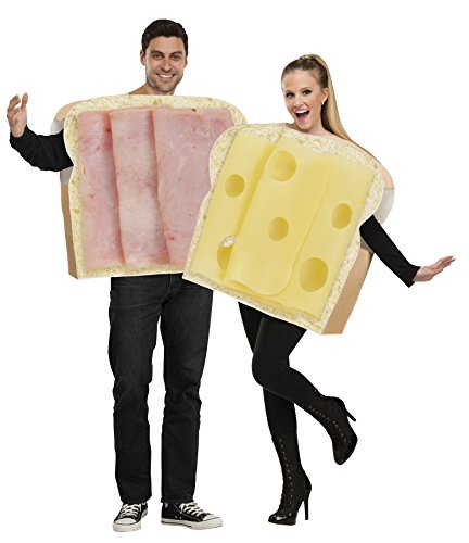 [UHC Unisex Ham On Bread And Swiss Cheese Funny Pair Duo Adult Couple's Costume, OS] (Couples Costumes Funny)