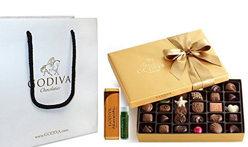 Godiva Chocolatier Gold Ballotin Classic Gold Ribbon, 36 Pieces with Gold Solid Milk Chocolate Bar, Godiva Gift Bag and a Jarosa Chocolate Bliss Lip Balm