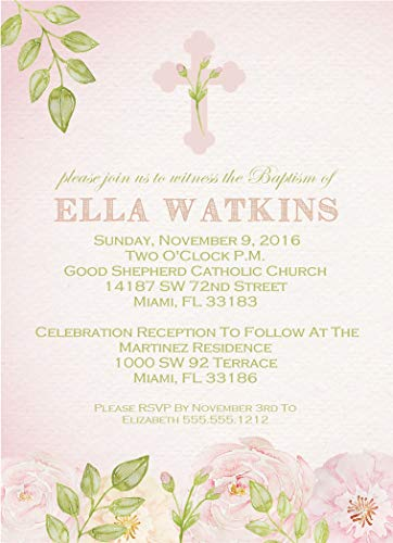 Girls Watercolor Flower Personalized Baptism, Christening, First Communion or Baby Dedication Invitations