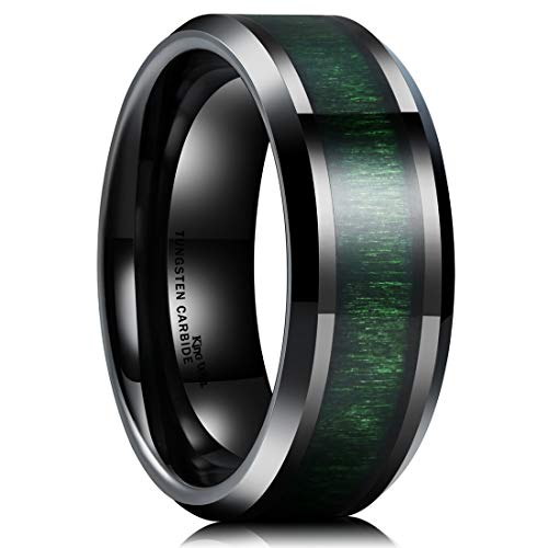 King Will Nature 8mm Mens Black Tungsten Carbide Wedding Ring Green Wood Inlaid Comfort Fit 8.5