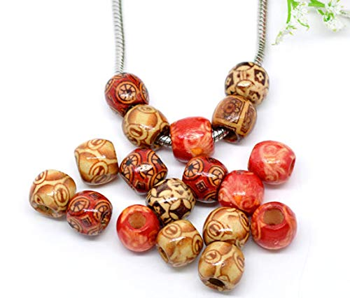 300 Patterned Wood Barrel Drum Beads Mixed Patterns 12mm x 11mm with Large 4.8mm Hole