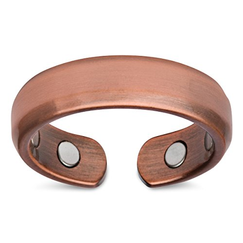 (2-Pack) Elegant Pure Copper Magnetic Therapy Ring Pain Relief for Arthritis and Carpal Tunnel