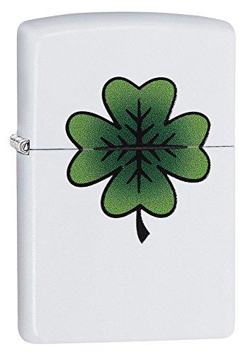 Zippo 29723 Clover Design White Matte Lighter