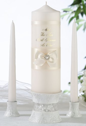 Lillian Candle Holder Pillar Rose - Lillian Rose Wedding Ceremony Unity Candle Ivory Pearl Set