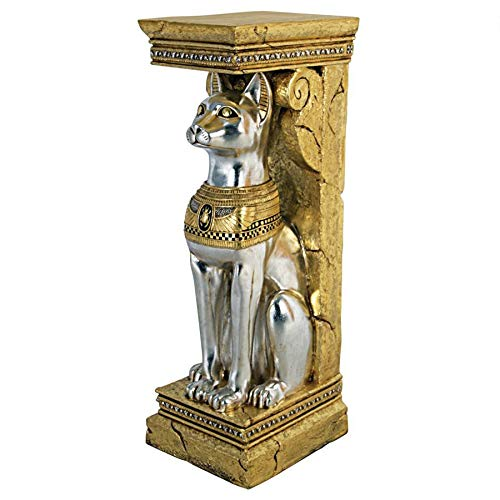 Design Toscano Egyptian Cat Goddess Bastet Pedestal Column Plant Stand, 37 Inch, Fiberglass Polyresin, Silver and Gold