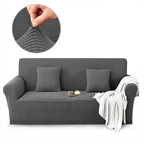 ColorBird Spandex Fabric Sofa Slipcovers Solid Color Knitted Fleece Removable Stretch Elastic Couch Protector Covers for Living Room Bedroom (Gray, Loveseat)