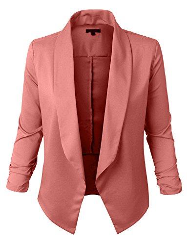 RubyK Womens Lightweight Open Front Draped Tuxedo Blazer Jacket