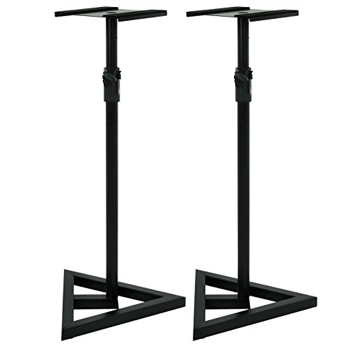 ZENY Height Adjustable 2 Studio Monitor Speaker Stands Heavy Duty Metal Triangle Pair Steel Stands (Studio Monitor Stand)