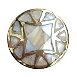 Mother of Pearl Drawer Knob with Brass Base Pearl Inlay Cabinet Knobs