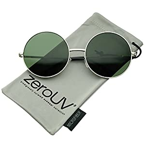 zeroUV - Super Large Oversize Slim Temple Round Sunglasses 61mm (Silver / Green)