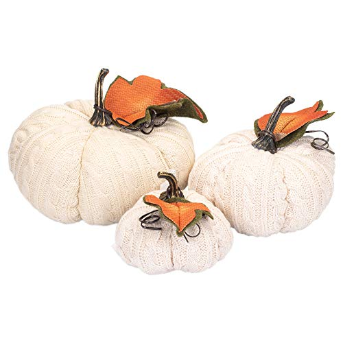 Hanna's Handiworks Lumina Cable Knit Beige Pumpkin Assorted 3 Piece Knitted Polyester Decorative Figurines