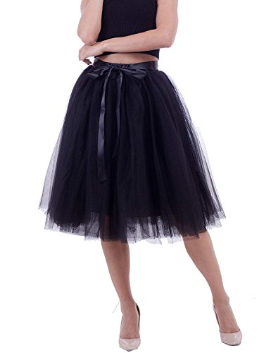 Women's High Waist Elastic Princess A Line Midi/Knee Length Tulle Skirt Bowknot 6Layered 25.6inch LengthTulle Party Skirt (Black) -