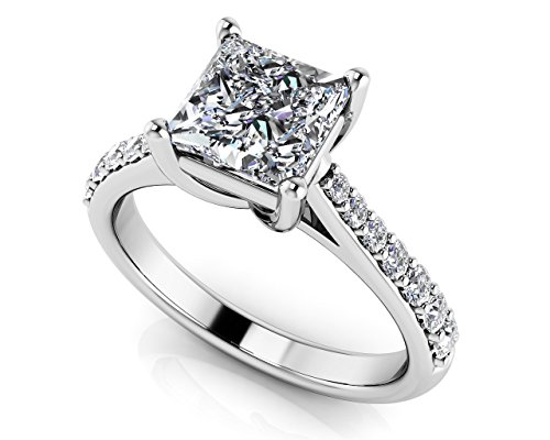 Or blanc 14 K intemporel Coupe Princesse Bague de fiançailles