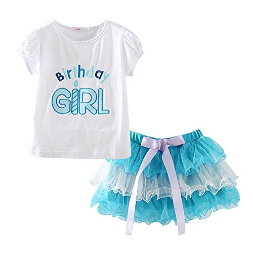 Birthday Outfit for Girl Birthday T-Shirt and Blue Tutu Skirt Set 6T