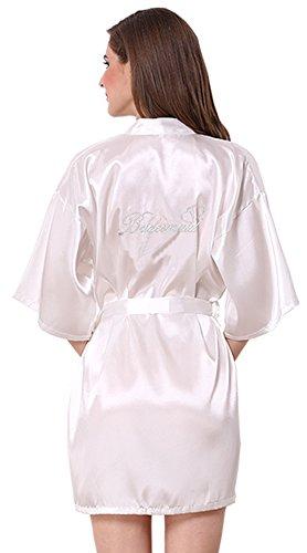 JOYTTON Women's Satin Kimono Robe with Embroidered Bridesmaid White XXL ()