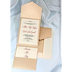 All-in-One Pocket Invitation Kit - Golden Pearl Elegance Invitation Card - Classic Invitation Card - All In One Invitation Card Kit - Pack of 20