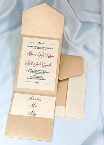 All-in-One Pocket Invitation Kit - Golden Pearl Elegance - Pack of 20