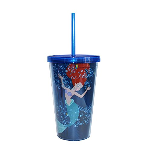 Silver Buffalo DQ74087 Disney Princess Ariel Plastic Cold Cup with Lid and Straw, 16-Ounces