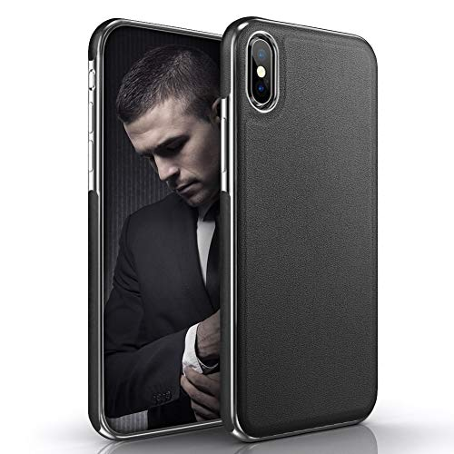 LOHASIC iPhone Xs Max Case, Luxury Premium Leather Thin Slim Soft Flexible TPU Bumper Non-Slip Grip Anti-Scratch Protective Cover Cases Compatible with Apple iPhone Xs Max 6.5 inch - Black