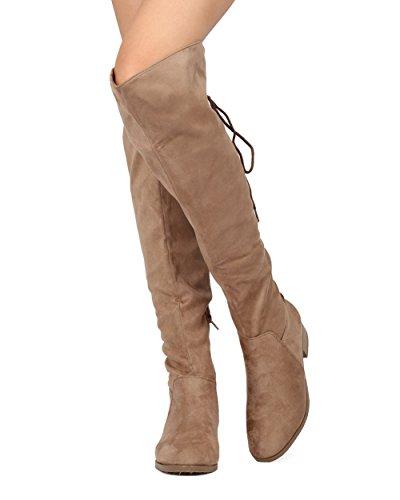 WestCoast Frauen Overknee Stiefel Zurück Korsett Lace Up Falten Manschette Zurück Tie Flat Kniehohe Kleid Reitstiefel Taupe