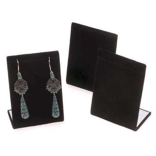 Velvet Display Earring Stand Black - 3 Pieces Black Velvet Leaning Earring Stands/Jewelry Displays 3.5 Inches Tall (Black Velour, 3)