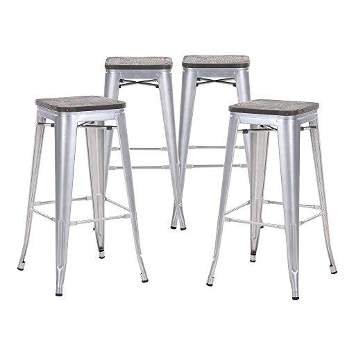 Amazoncom Buschman Set Of 4 Grey Wooden Seat 30 Inch Bar Height