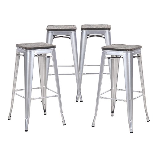 Buschman Set of Four Gray Wooden Seat 30 Inches Counter High Tolix-Style Metal Bar Stools, Indoor/Outdoor, Stackable