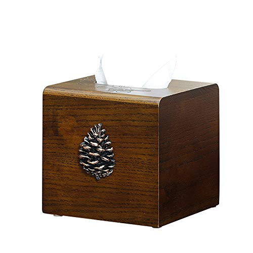 Square Solid Wood Tissue Box, Living Room Dining Room Napkin Storage Box Suitable for Home Office and Other Environments (Color : B)