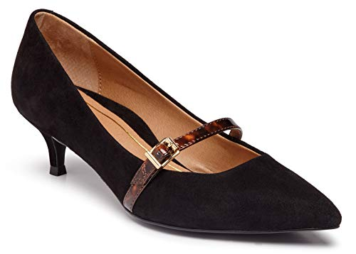 Vionic Women's Kit Minnie Mary Jane Heel - Ladies Kitten Heels with Concealed Orthotic Arch Support Black Suede Tortoise 8 W US