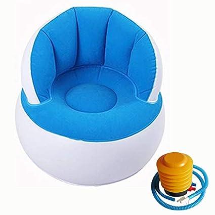 Akeny per Bambini Blue Poltrona a Pouf con Schienale Gonfiabile