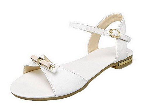 Cuir Sandales AgooLar Femme GMBLA012732 Ouverture Boucle Couleur d'orteil PU Blanc Unie n4E8axEW