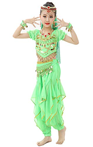 Gilrs Halloween Costume Set - Kids Belly Dance Halter Top Pants with Jewelry Accessory for Dress Up Party(Lime -