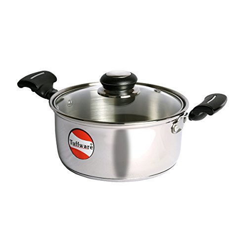 Tuffware Stainless Steel Casserole Regular with Glass Lid   Induction Friendly  1 LTR
