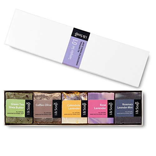 (I & SOAP, 5pcs Mini Sampler Set (01) - Guest Soap - Travel Soap - 100% Natural & Organic Materials - Handcrafted Herbal Soap - Gentle and Effective Facial, Hand and Body Cleansing Soap Bars.)