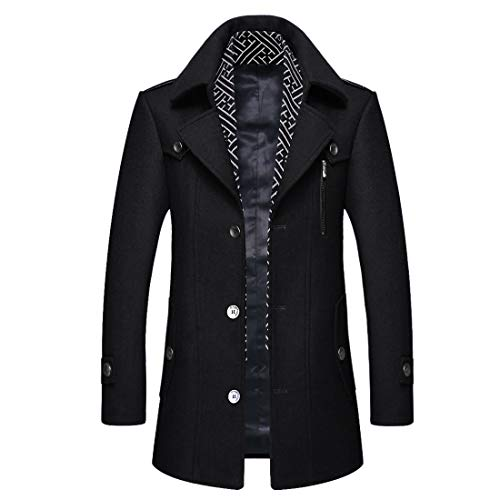 iCKER Men's Wool Coat Short Trench Coat Pea Coat Casual Winter Business Slim Fit Jacket