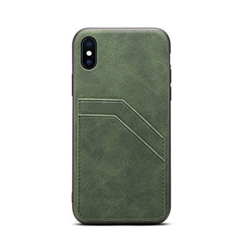 TACOO Case Compatible with Apple iPhone Xs 2018/X 2017,Slim Leather Green Thin Soft PU Credit Card Holder Protective Women Girl Men Durable Shell Cover for iPhone 10 5.8 Inch,iPhone Xs 5.8 Inch ()