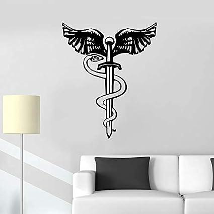 Tianpengyuanshuai Tatuajes de Pared Serpiente pájaro alas Espada Daga símbolo mitológico Vinilo Pegatina Dormitorio decoración del hogar Mural 130X63cm