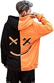 Lelloing Mens Fashion Hooded Jerseys Sweatshirt Autumn Casual Long Sleeve Contrast Color Smile Hip-Hop Hoodies