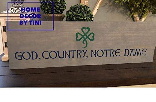 Amazon Com God Country Notre Dame Hand Painted Wood Sign Sign
