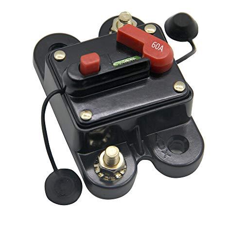 RKURCK 60A 12V-24V DC Circuit Breaker with Manual Reset for Trolling Motor Auto Car Marine Boat Bike Stereo Audio