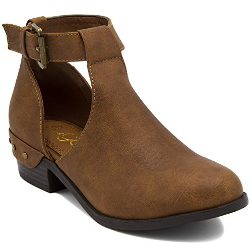 Sugar Kids Tiramisu Ankle Boot Girls Bootie With Stylish Open Sides and Ankle Buckle 11 Cognac