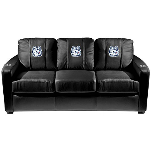 XZipit College Silver Sofa with Connecticut Huskies Logo Panel, Black