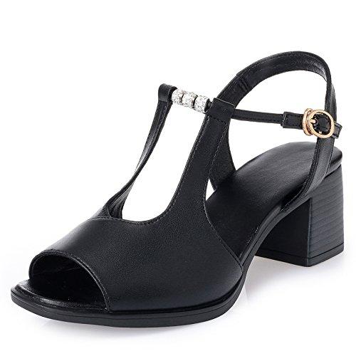 De Zapatos Fondos Roma Tacon Tacones De Cm Verano GTVERNH Blandos Alto 6 black Mamá Sandalias Mediana Sandalias De De Duro Señoras Los Edad wTqHZ0x60